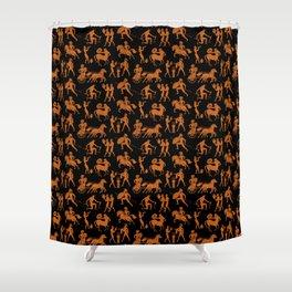 Greek Figures // Orange & Black Shower Curtain
