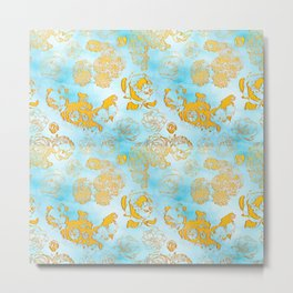Beautiful Gold florals on a Blue background Metal Print