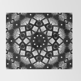 Black White Mosaic Kaleidoscope Mandala Throw Blanket