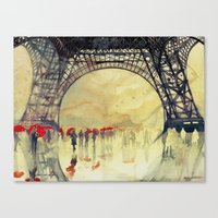 Canvas Prints featuring Winter in Paris by takmaj