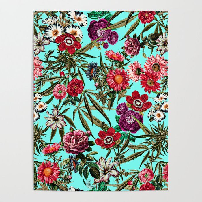 Marijuana and Floral Pattern II Poster