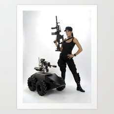 Swat Chick- Girl with SWAT Gear, Military Gun and Tactical Robot Art Print