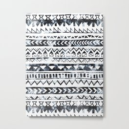 Tribal Stripe - B & W Metal Print