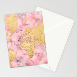 Gold and pink marble world map Stationery Cards