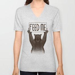 Feed Me Bear Unisex V-Neck