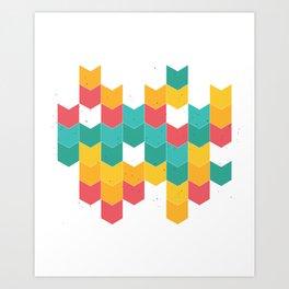 Colorful chevrons Art Print