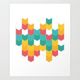 Colorful chevrons Art Print