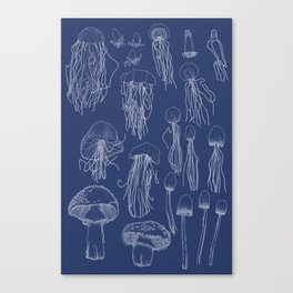Transitioning Mushrooms (Blueprint) Canvas Print