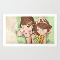 girls Art Prints featuring Life's a Picnic, Bring Your Friend by keith p. rein