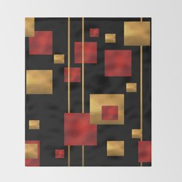 Red and Gold Foil Blocks Throw Blanket