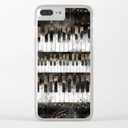 Piano keys and Notes - Watercolor and gold Clear iPhone Case