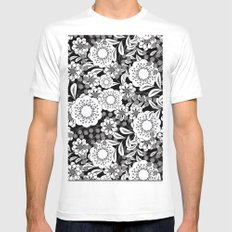 White flowers on a black background. MEDIUM White Mens Fitted Tee