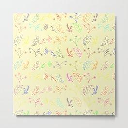 Crayon Flowers Drawing on Pastel Yellow Metal Print