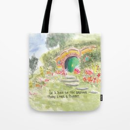 Hole in the Ground Green Door New Zealand Tote Bag
