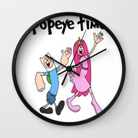 popeye Wall Clocks featuring popeye time by Chiaris