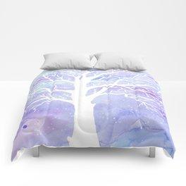 Watercolor Abstract winter oak tree purple background Comforters