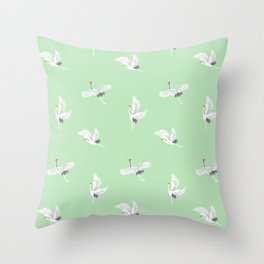 Green Crane Pattern design Throw Pillow