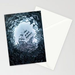 Underwater Shiwreck Papercut Stationery Cards