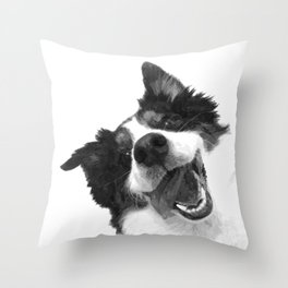 Black and White Happy Dog Throw Pillow