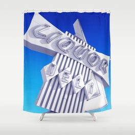 Liquor Deli Vintage Retro Neon Sign Blue Shower Curtain
