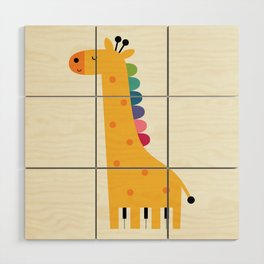 Giraffe Piano Wood Wall Art