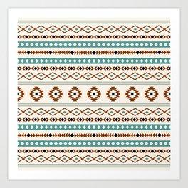 Aztec Teal Terracotta Black Cream Mixed Motifs Pattern Art Print