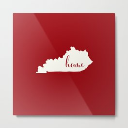 Kentucky is Home - Red on White Metal Print