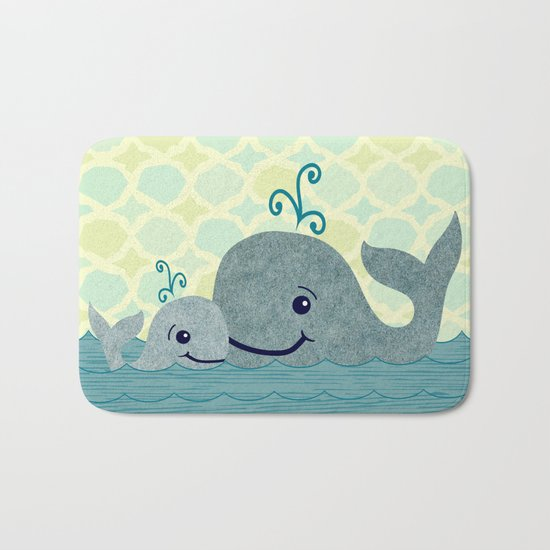 Whale Mom and Baby Bath Mat