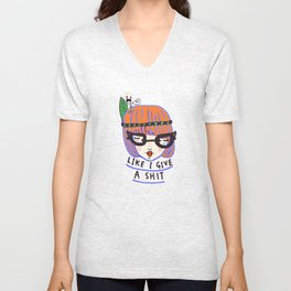 like i give a shit there's a naked rabbit on my head Unisex V-Neck