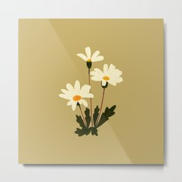 Delicate and retro wild daisy on mustard background Metal Print