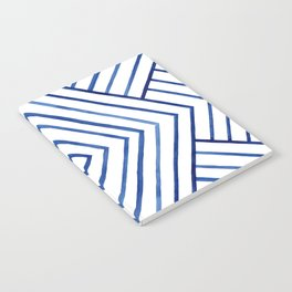 Watercolor lines pattern | Navy blue Notebook