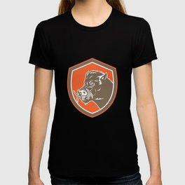 Wild Boar Razorback Head Side Shield Retro T-shirt