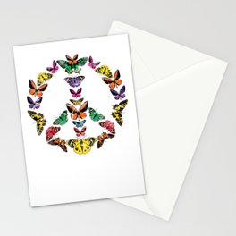 Rainbow Butterfly Peace Sign LGBT Stationery Cards