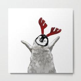 Christmas Baby Penguin Reindeer Metal Print