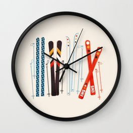 Retro Ski Illustration Wall Clock