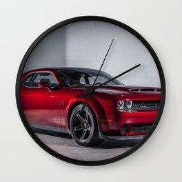 Candy Apple Red Challenger SRT Demon MOPAR Muscle Car Wall Clock