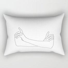 Folded arms line drawing illustration - Juno Rectangular Pillow