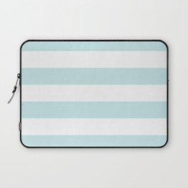 Duck Egg Pale Aqua Blue and White Wide Horizontal Cabana Tent Stripe Laptop Sleeve