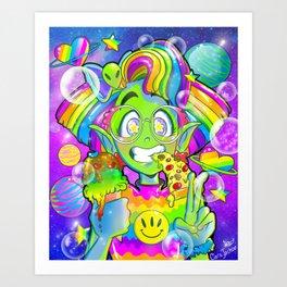90s Alien Girl Art Print