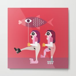 Two nude women with big fish Metal Print