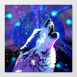 WOLF MOON AND SHOOTING STARS Canvas Print