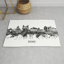 Rome Italy Skyline BW Rug