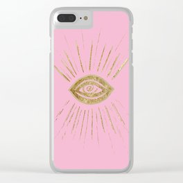 Evil Eye Gold on Pink #1 #drawing #decor #art #society6 Clear iPhone Case