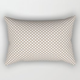 Champagne Beige and White Polka Dots Rectangular Pillow