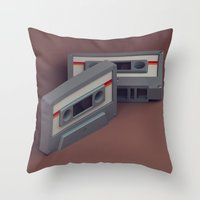 cassette Throw Pillows featuring Cassette by Michiel van den Berg