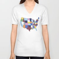 usa V-neck T-shirts featuring USA by Project M