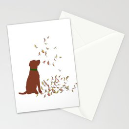 Brown Dog in Fall Leaves Stationery Cards