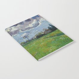 Meadow With Flowers Under a Stormy Sky Notebook