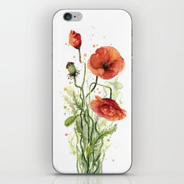 Red Poppies Watercolor iPhone Skin
