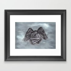 Eros , Amor - Angel and Woman in Love Framed Art Print
